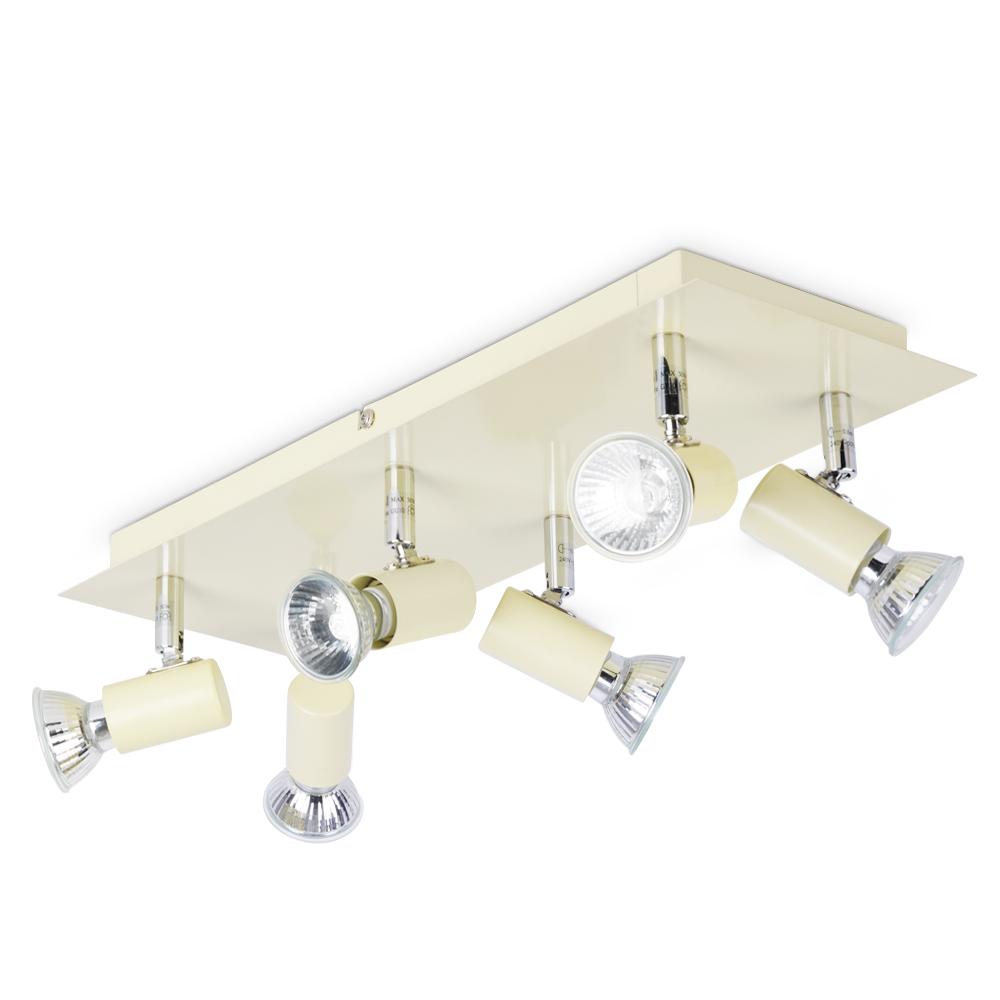 Modern Gloss Cream And Chrome 6 Way Kitchen Ceiling Spot