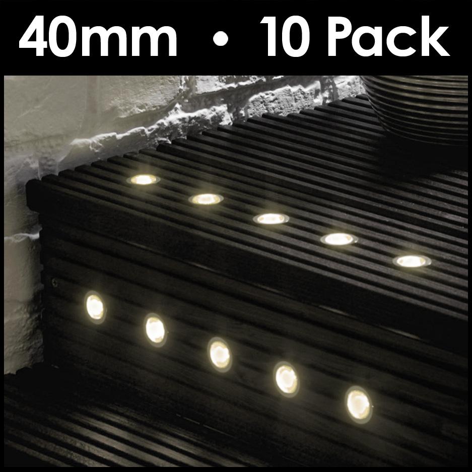 10 x warm white 40mm led outdoor garden decking deck lights lighting minisun decking light kit mozeypictures Choice Image