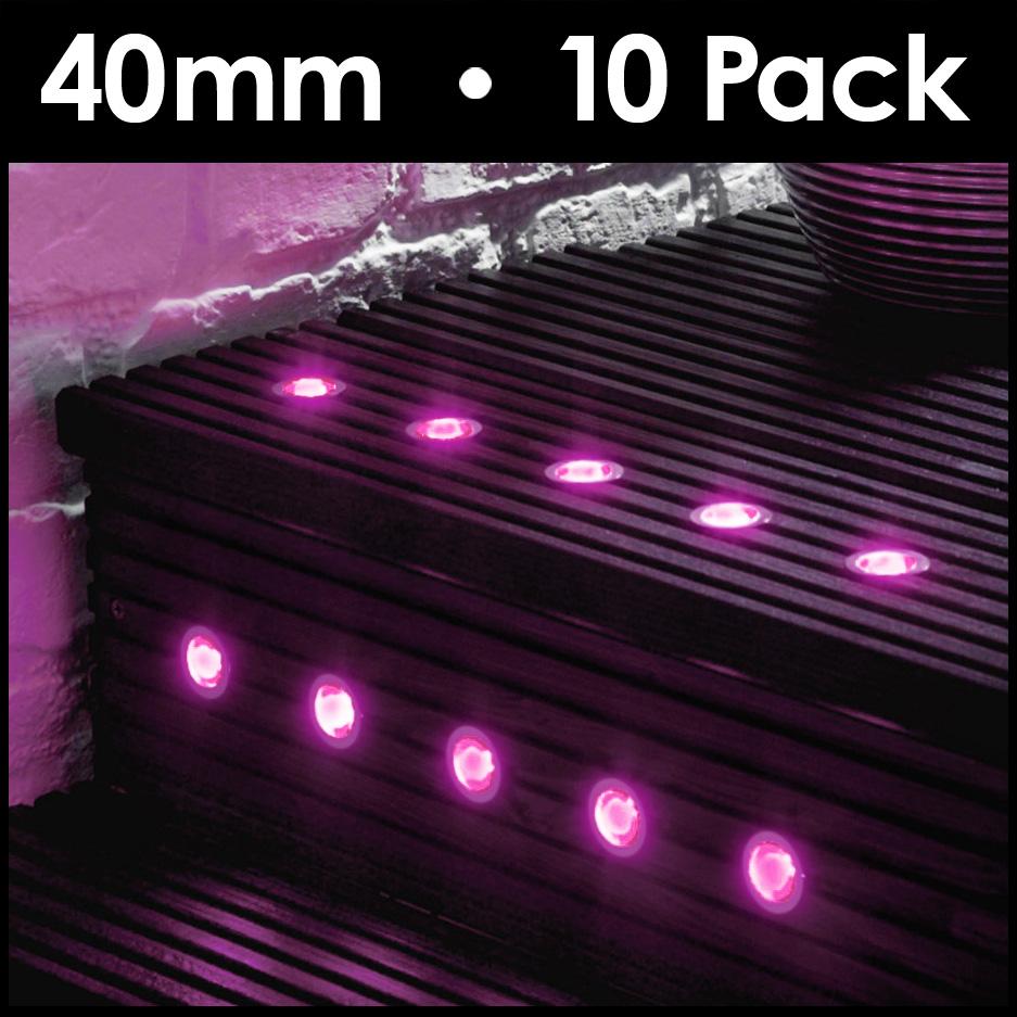 10 x pink 40mm led round outdoor garden decking deck for Garden decking lights uk