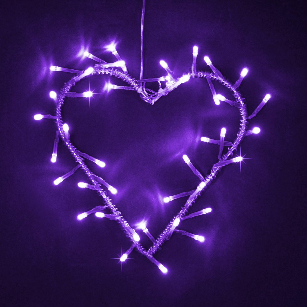Philips Garland Led String Lights : Silver Metal Purple LED Heart Garland Wreath - Fairy String Lights Lamp Gift eBay