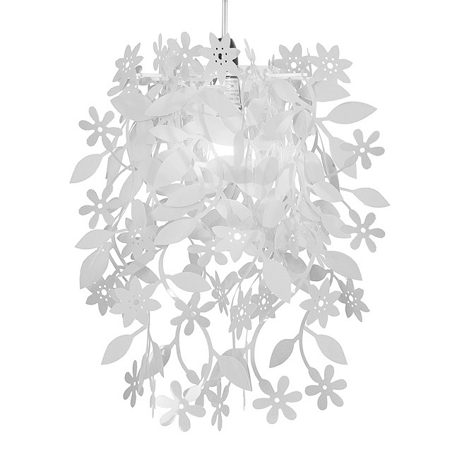 White shabby chic floral ceiling pendant light lamp shade chandelier uk company mozeypictures Images