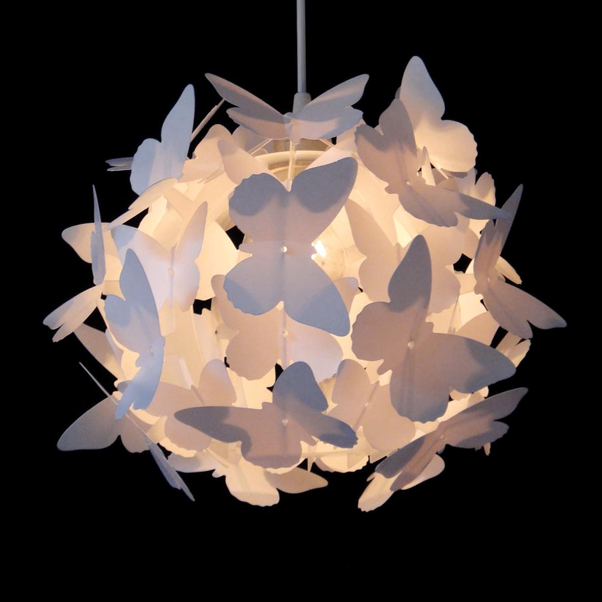 Girls Pretty White Butterfly Ceiling Pendant Light Lamp