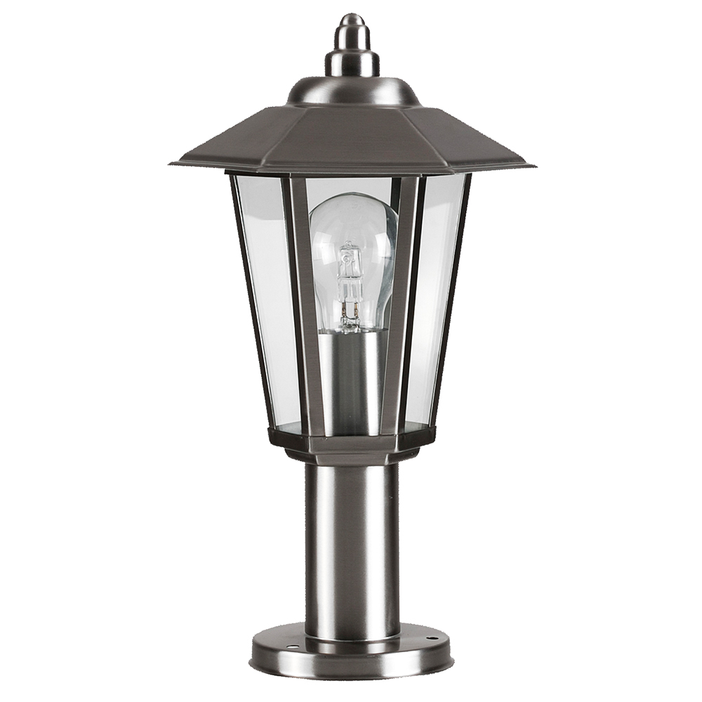 Modern Outdoor Brushed Chrome Glass Post Top Lantern Wall ...