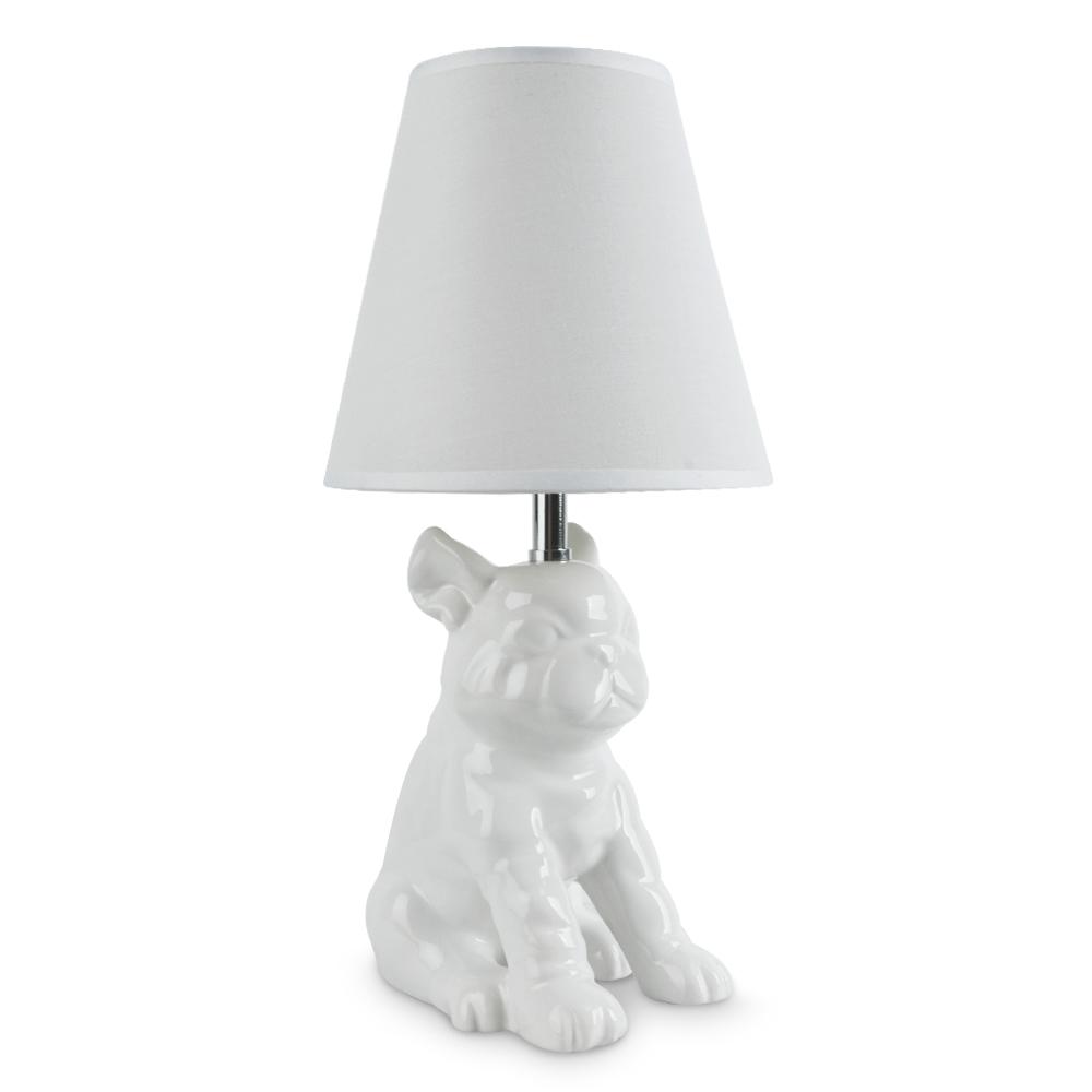 contemporary gloss white ceramic french bulldog table lamp desk light lighting 5016529191070 ebay. Black Bedroom Furniture Sets. Home Design Ideas