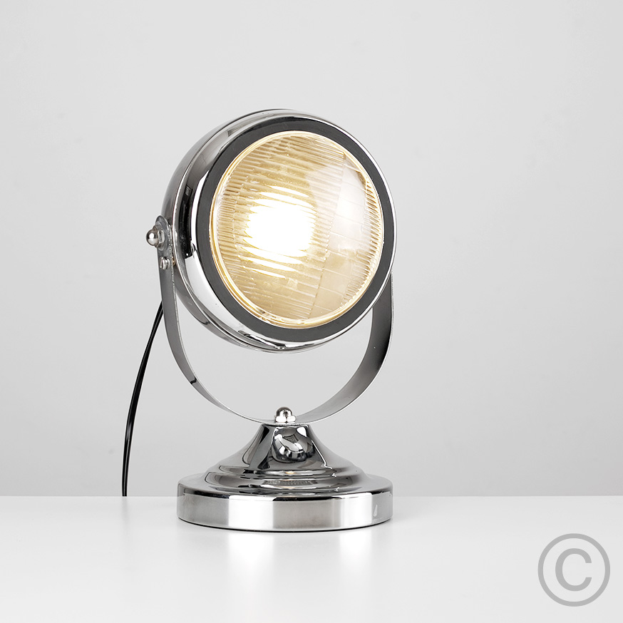 Vintage Car Headlight Custom Style Chrome Table / Desk
