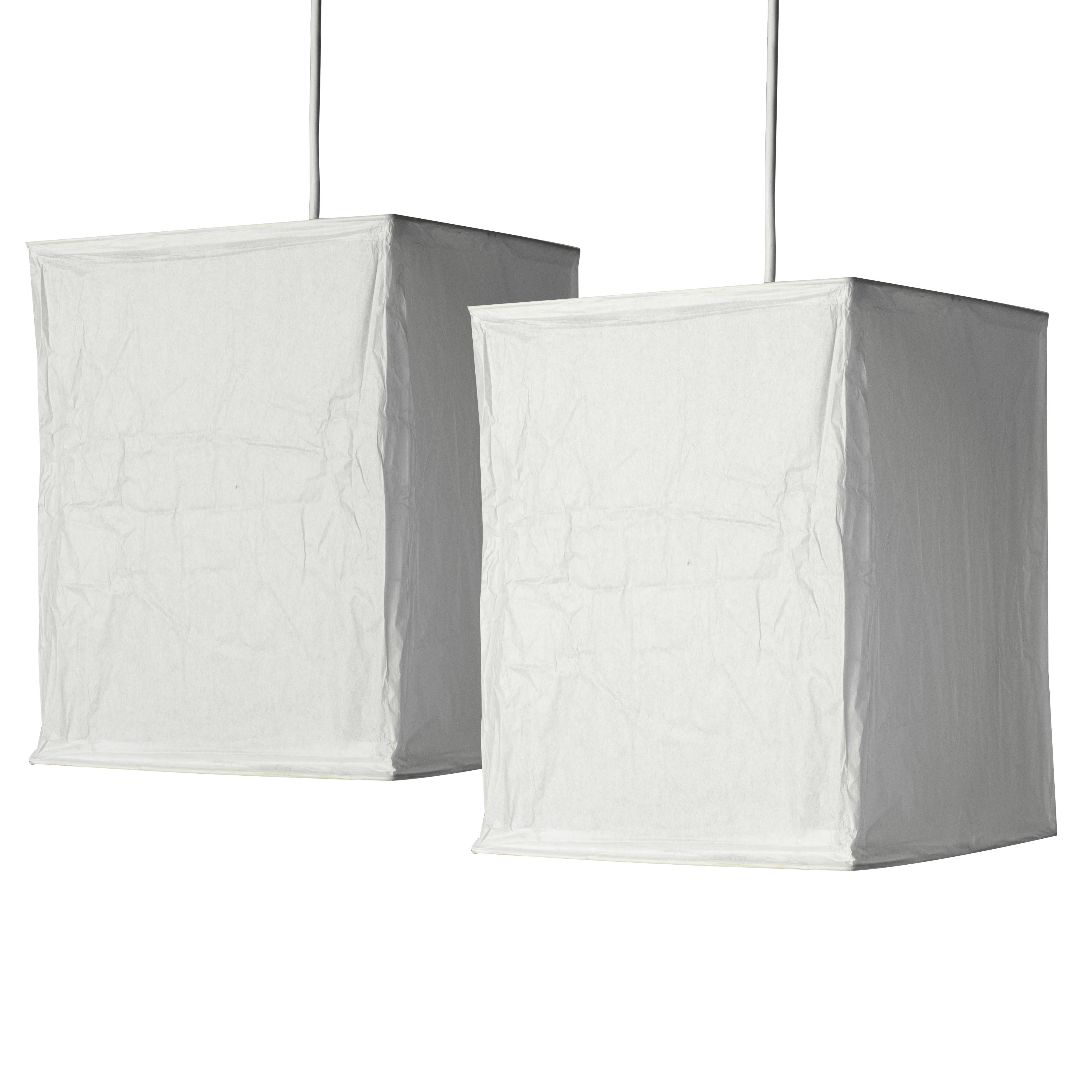 Pair Of Modern White Rice Paper Cube Lantern Ceiling