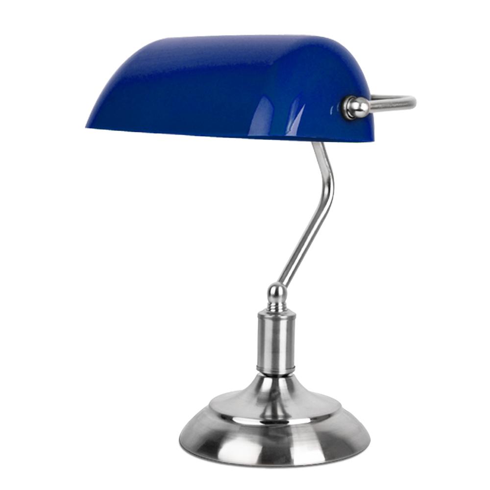 silver chrome blue bankers table desk lamp light