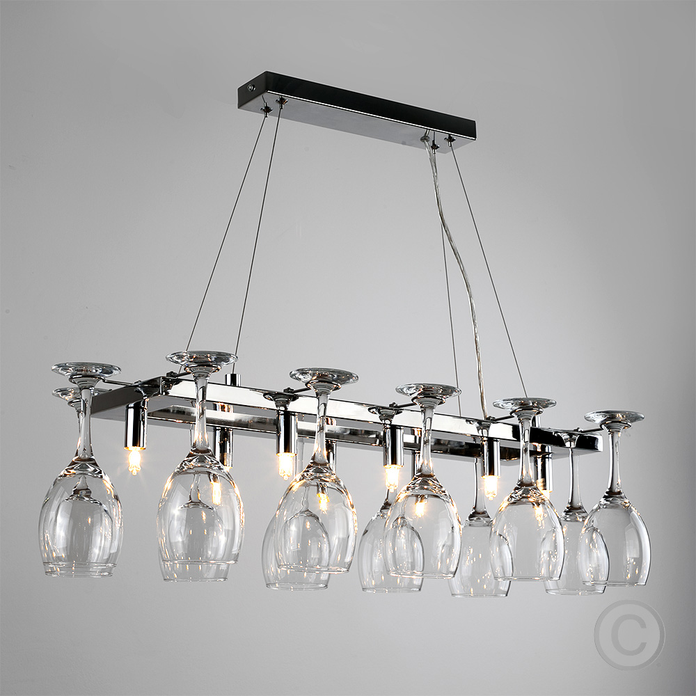 Chrome Wine Glass Chandelier Kitchen Dining Breakfast Bar Ceiling Light Fitting Ebay