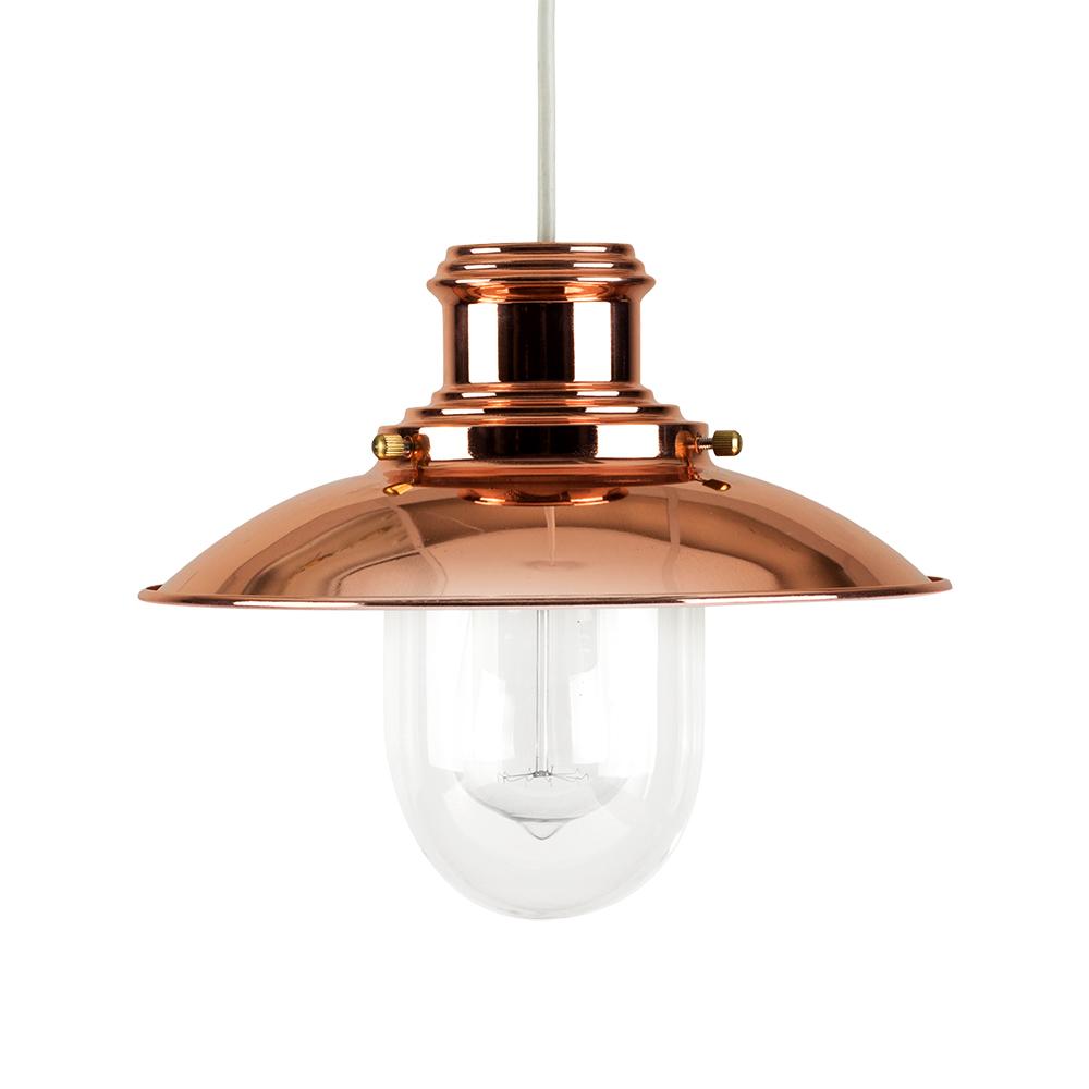 Modern Fishermans Copper + Glass Ceiling Light Pendant