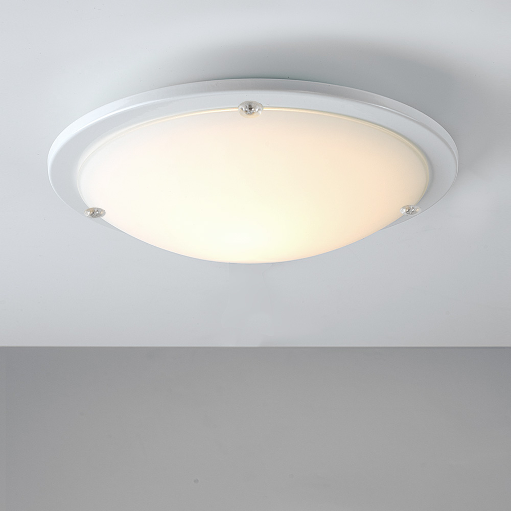 Modern white frosted glass round flush bathroom ceiling for Lights company