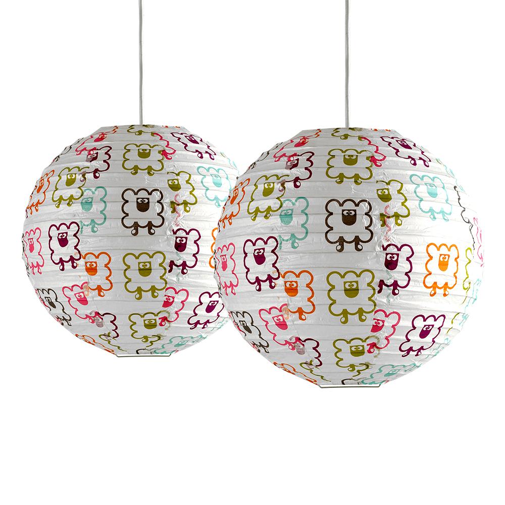 2 x multi colour sheep pattern round paper lantern ceiling light image is loading 2 x multi colour sheep pattern round paper mozeypictures Images