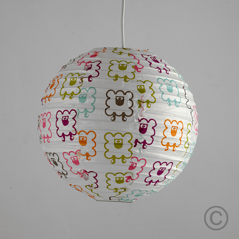 2x round paper ceiling light pendant shades coloured sheep bedroom 2 x multi colour sheep pattern round paper lantern ceiling light shades lighting mozeypictures Images