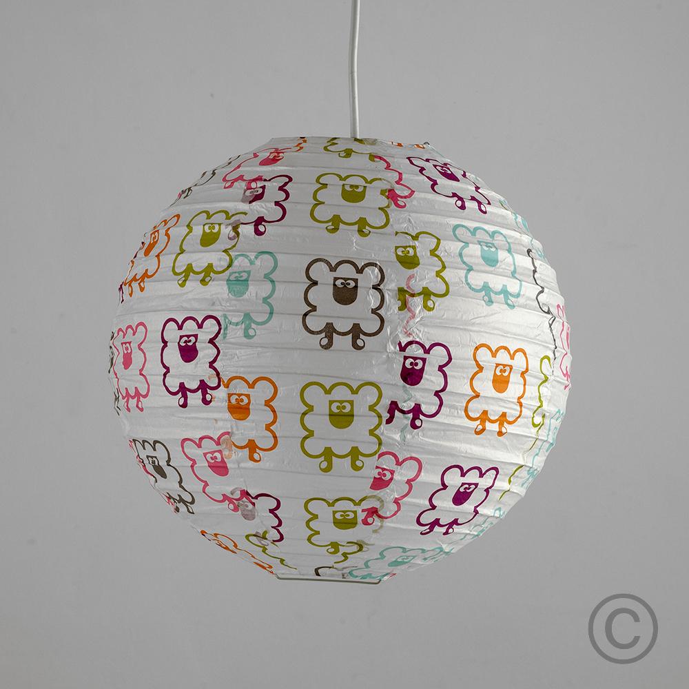 2 X Multi Colour Sheep Pattern Round Paper Lantern Ceiling
