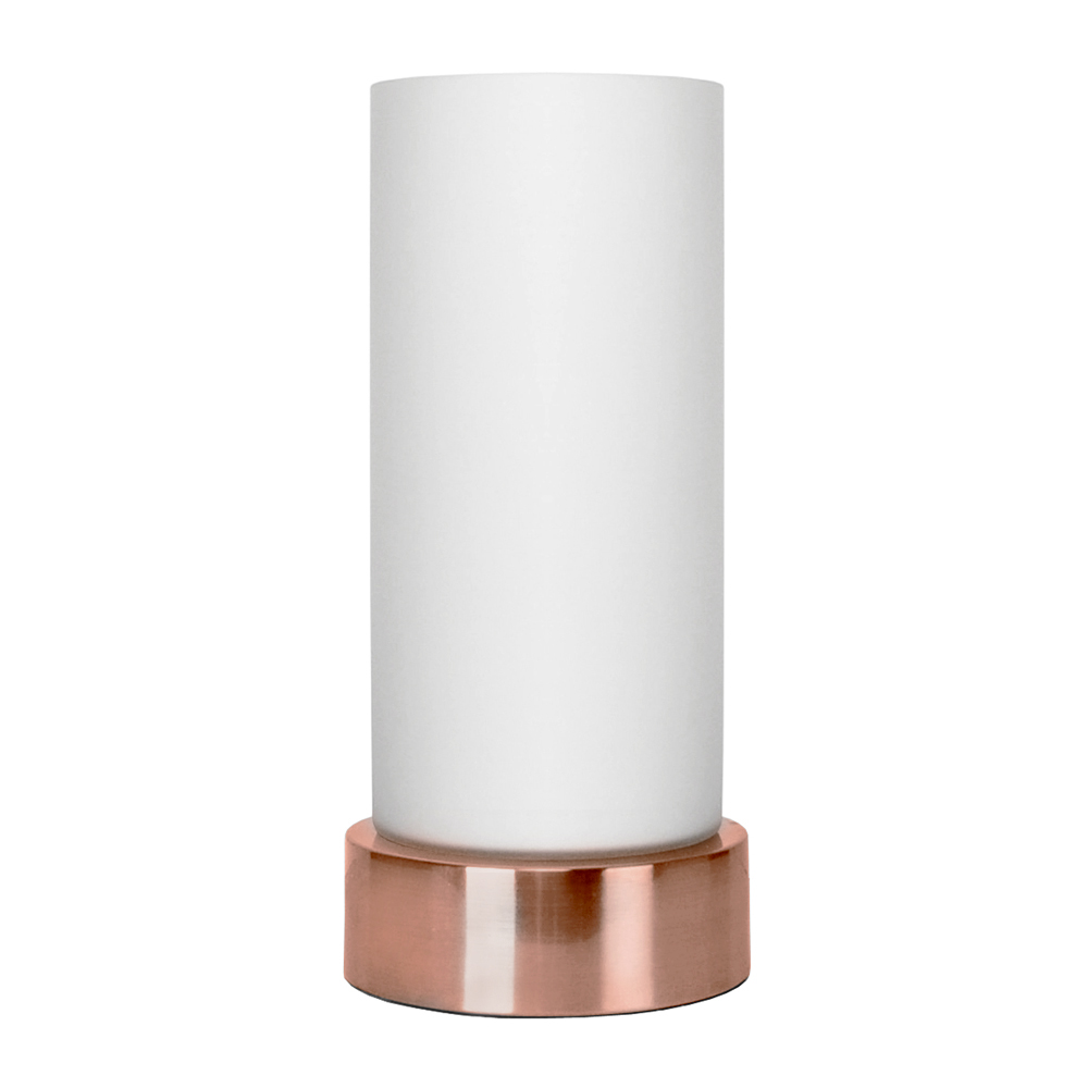 Contemporary Copper Frosted Glass Touch Dimmer Table Lamp Lounge Light Home