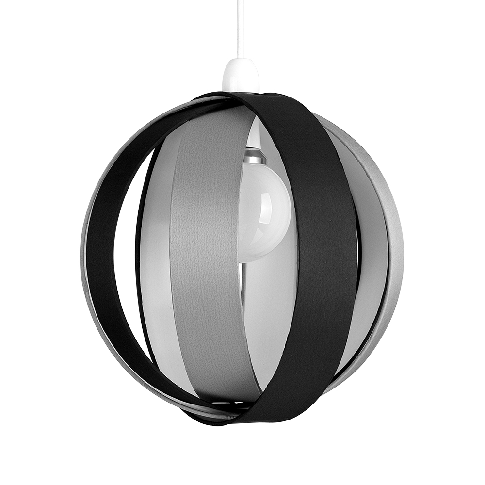 Ceiling Lamp Shade Materials: Modern Round Black Grey Fabric Ceiling Light Pendant Lamp