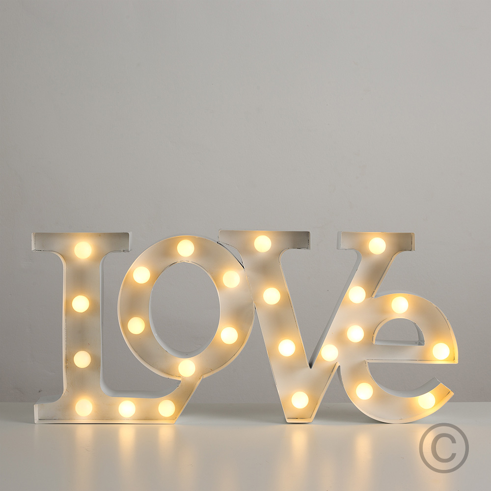 Modern Battery Operated Warm White LED Decorative Love