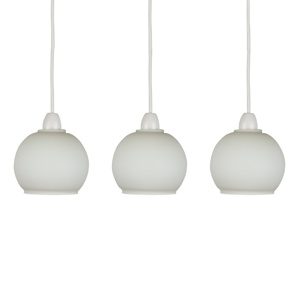 Set Of 3 Frosted White Glass Domed Ceiling Light Pendant