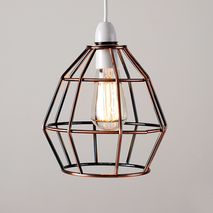 Modern copper metal wire frame ceiling pendant light lamp shade uk company aloadofball Image collections
