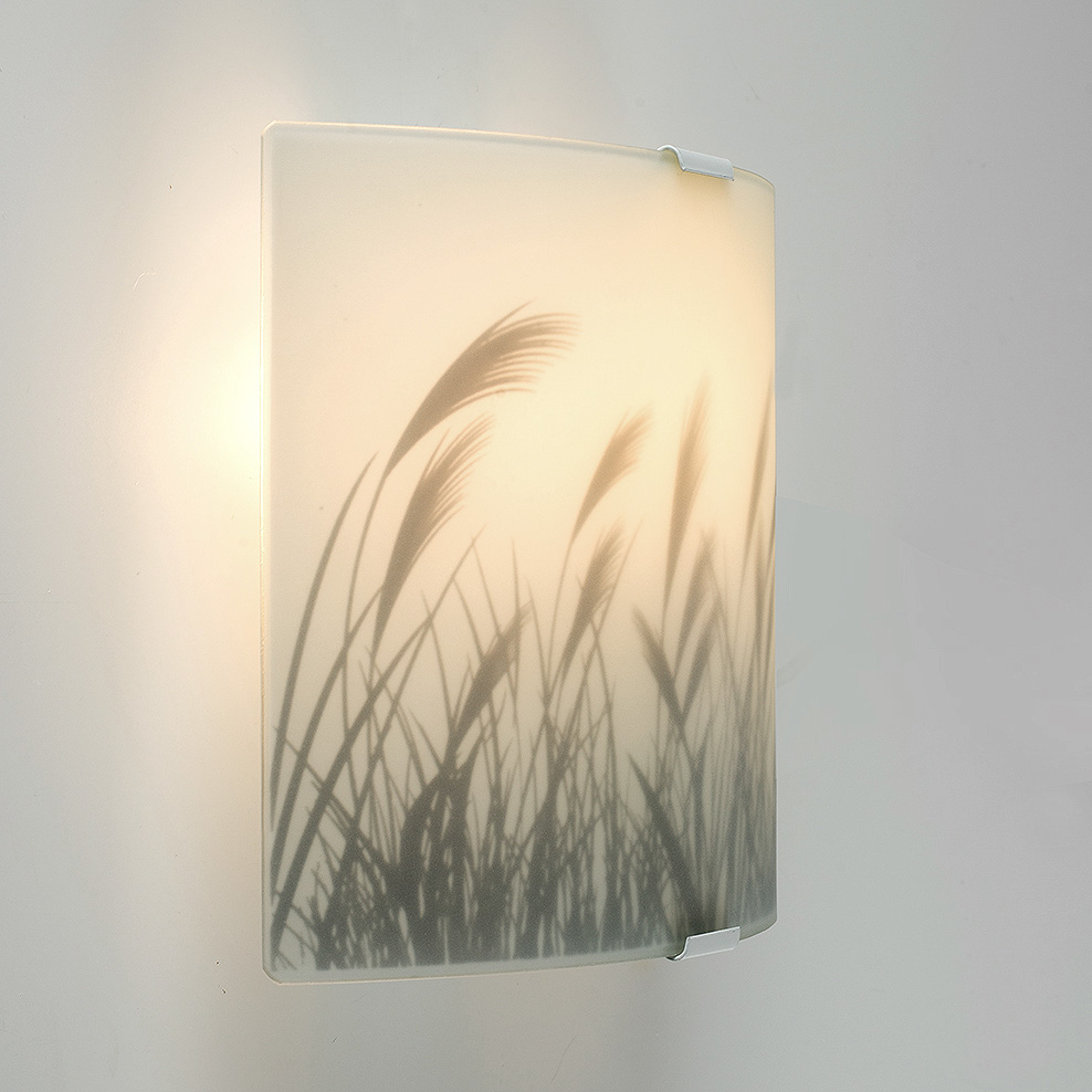 Wall Lights Frosted Glass : Modern White Frosted Glass Meadow Pattern Flush Wall Sconce Light Fitting Lights eBay