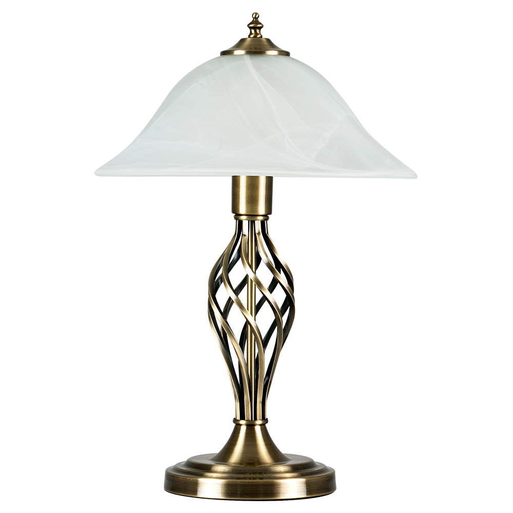 Traditional antique brass barley twist table lamp frosted alabaster uk company aloadofball Choice Image