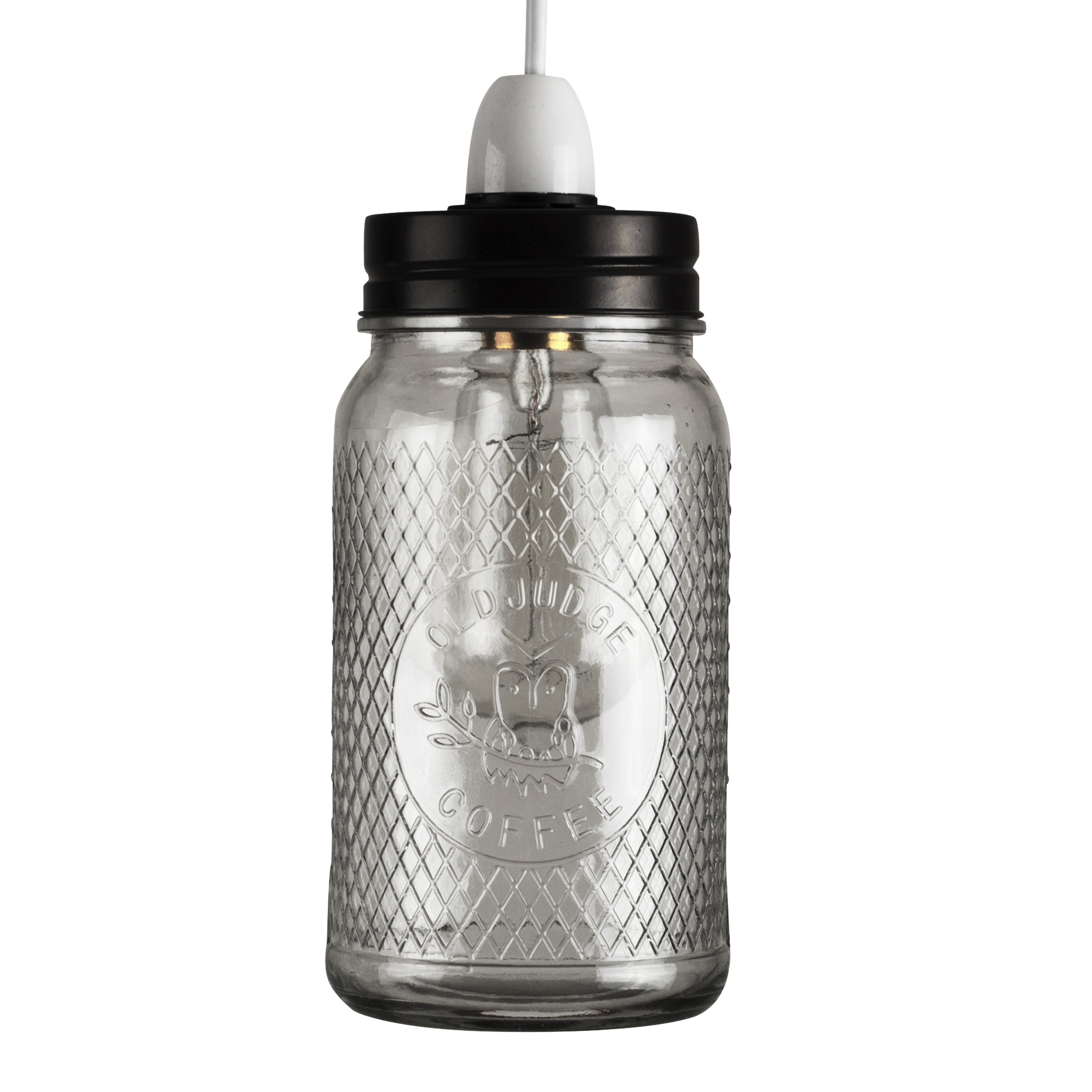 Quirky Industrail Style Glass Coffee Jar Ceiling Light