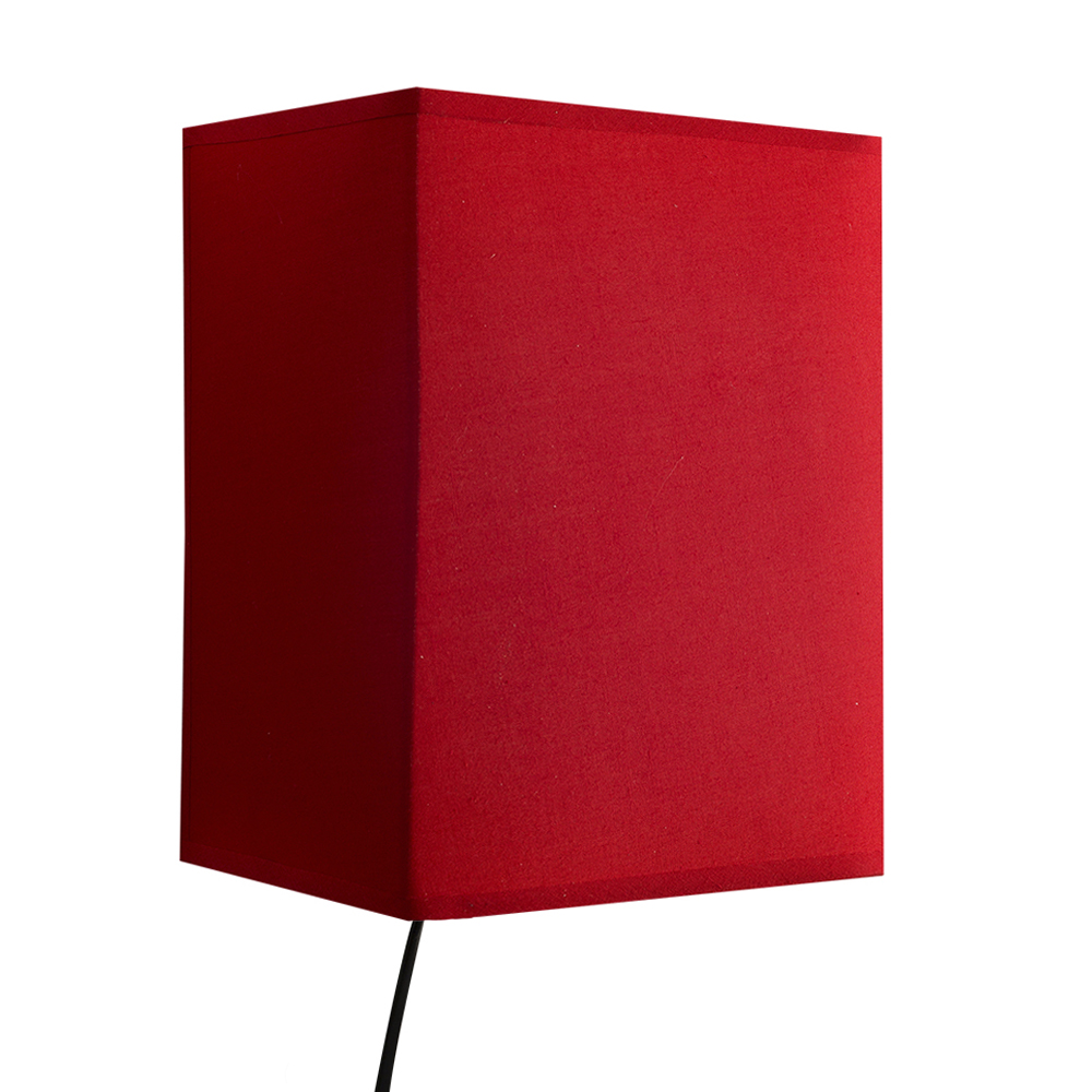 Modern Fabric Wall Lights : Modern Square Design red Fabric Wall Light with Plug & Cable Bedroom Lighting eBay