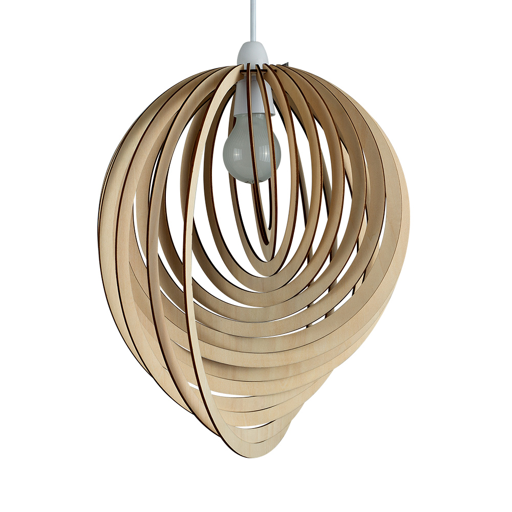 Modern Wooden Droplet Ceiling Pendant Light Shade Lounge