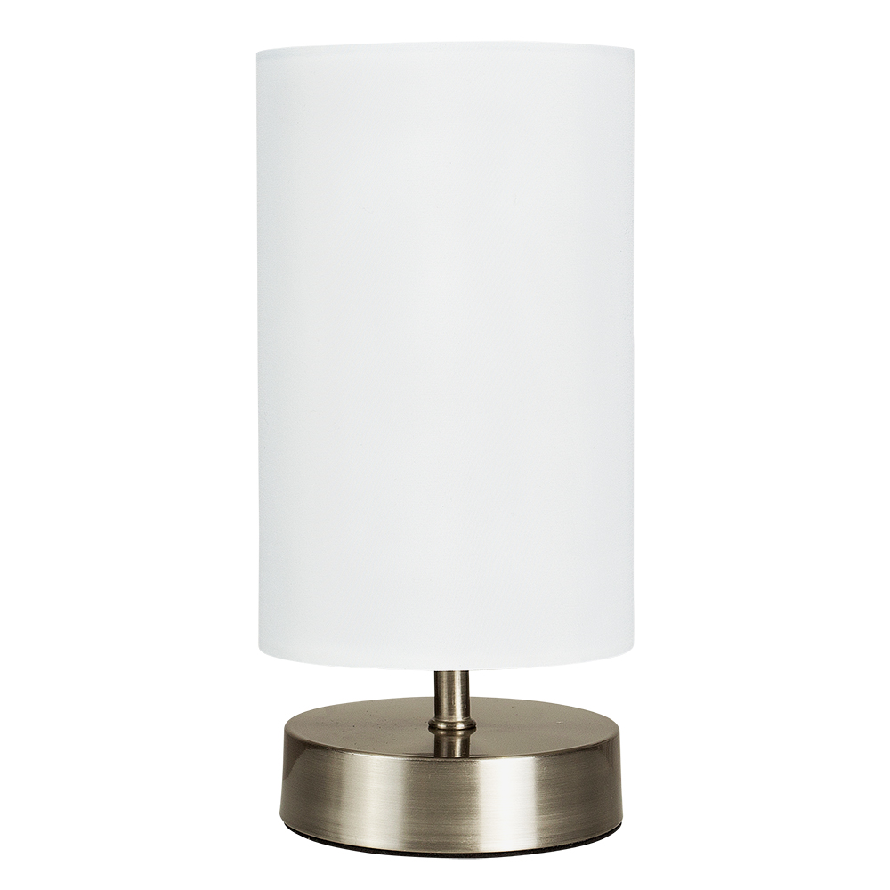 modern brushed chrome touch table lamp white shade lampshade lounge dimmer light ebay. Black Bedroom Furniture Sets. Home Design Ideas
