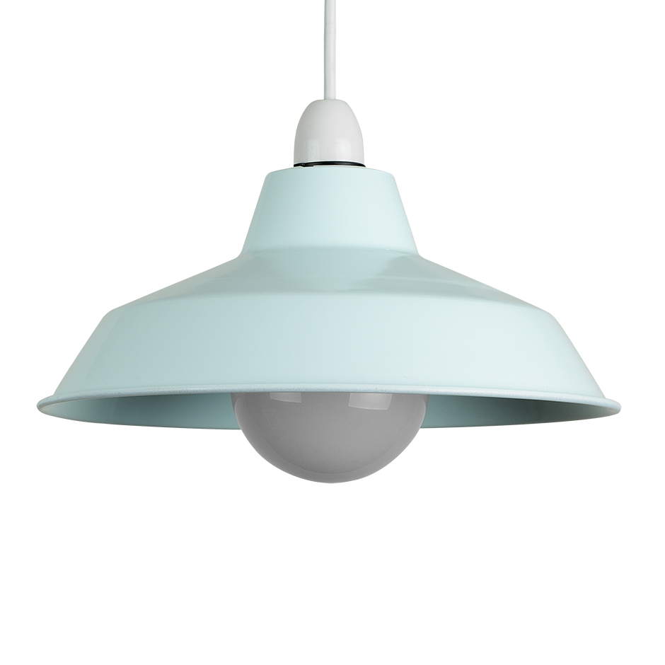 Contemporary duck egg blue metal ceiling light pendant shade minisun light aloadofball Image collections