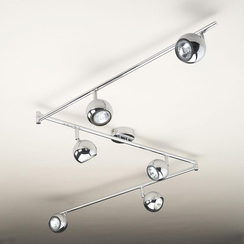 Kitchen Ceiling Lights Spotlights: Large Modern Chrome 6 Way Kitchen Ceiling Spot Light