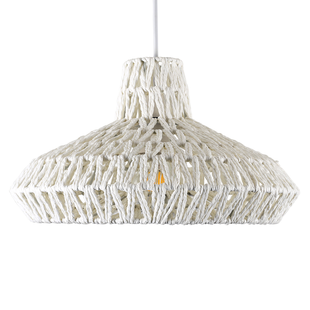 Hamilton Wicker Pendant Shade.  This unique shade provides a warm ambience when lit with one of our vintage style bulbs