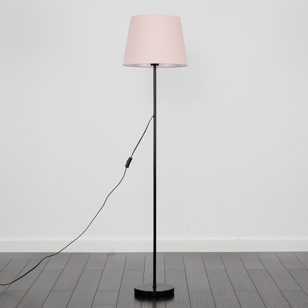 Charlie Black Floor Lamp with Dusty Pink Aspen Shade