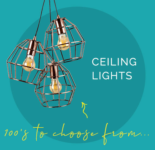 Hundreds of the best ceiling lights to choose from, and a stylish copper geometric ceiling light in the background