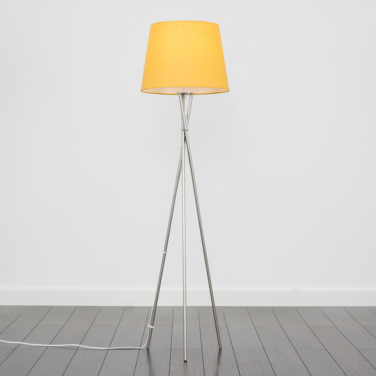 Camden Brushed Chrome Tripod Floor Lamp with Mustard Aspen Shade