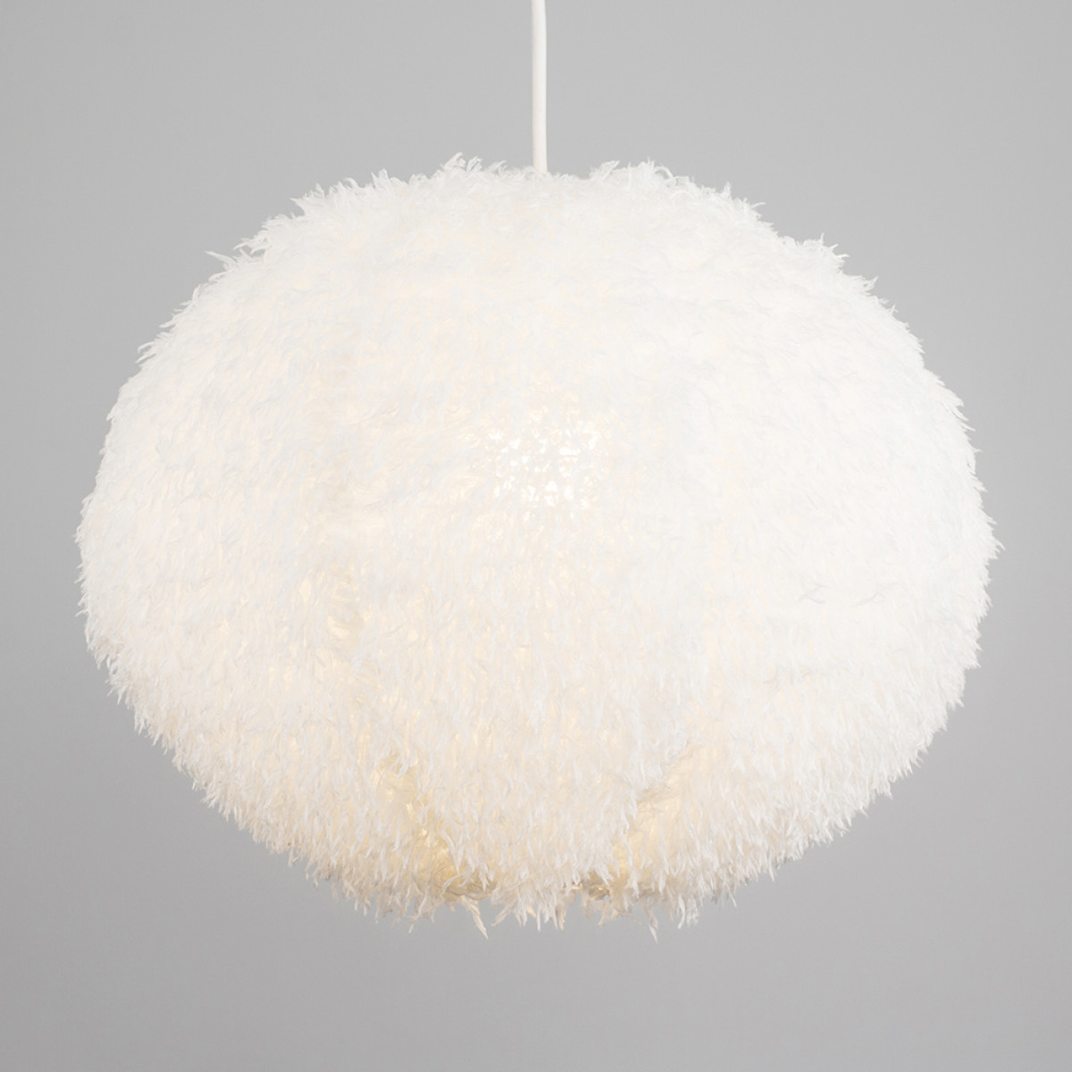 Cheyenne Faux Feather Pendant Shade in White