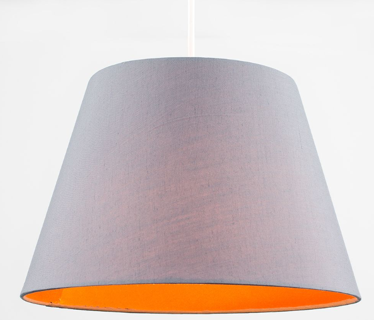 This orange and grey shade can support mood lighting to aid mental well-being in a darker room with low natural light