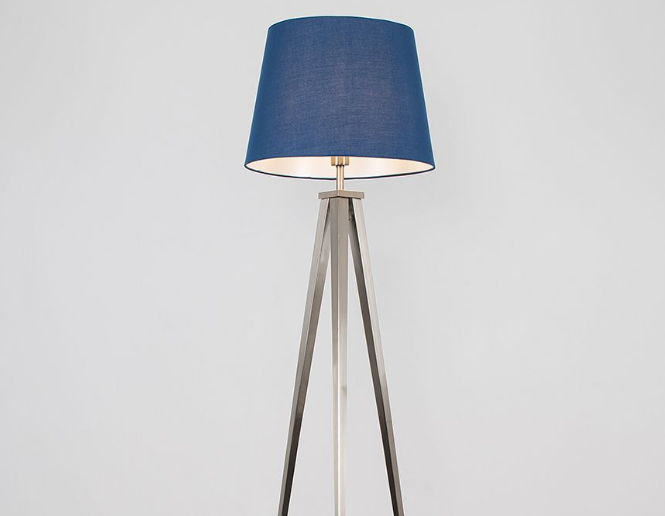 An example of a blue tripod floor light, used to create a mood lighting to aid well being and mental health
