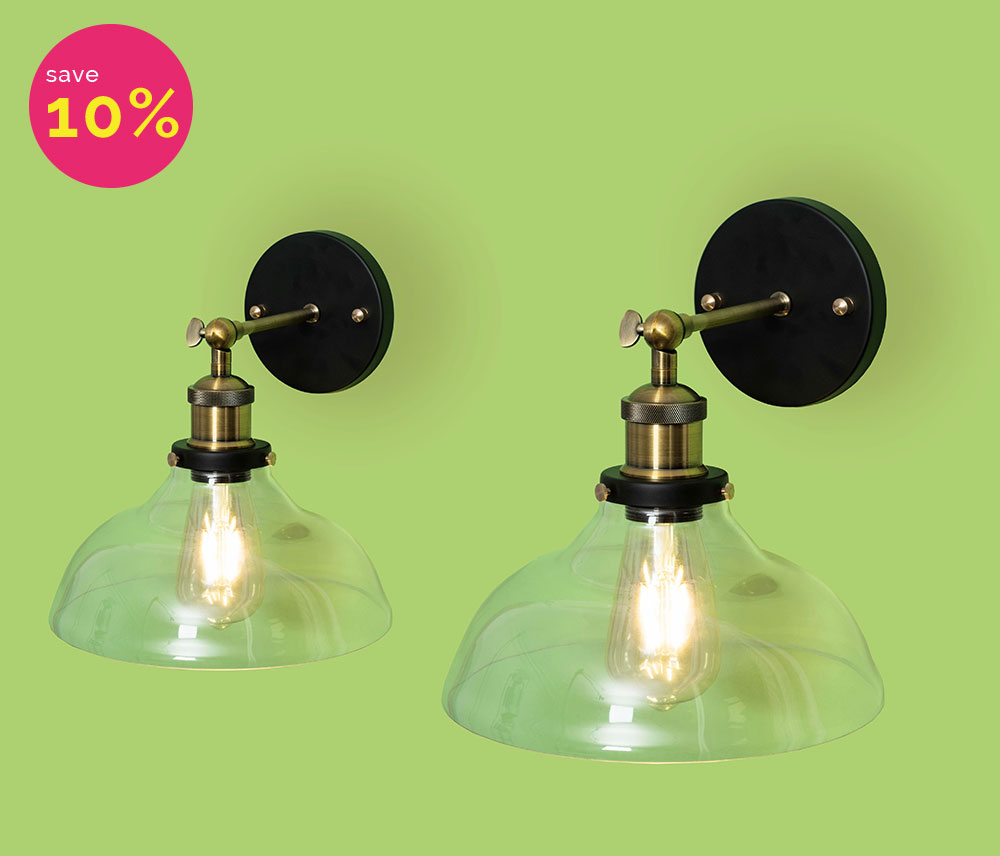 Two vintage glass wall lights