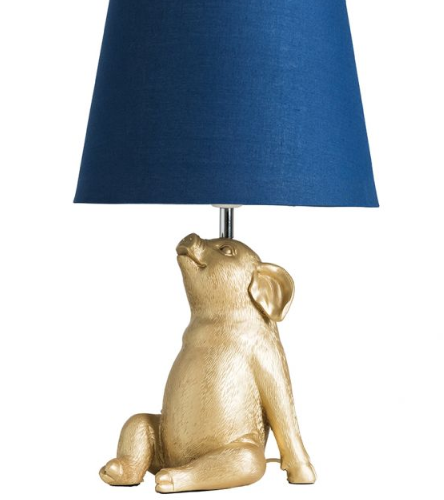 Patrick piglet gold table lamp in Blue Shade