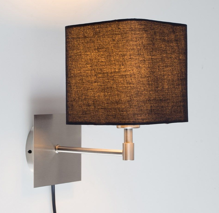 The Plug in Satin Nickel Wall Light in Brown Cubic Shade is a nice example for a lightng to create mood in a lounge