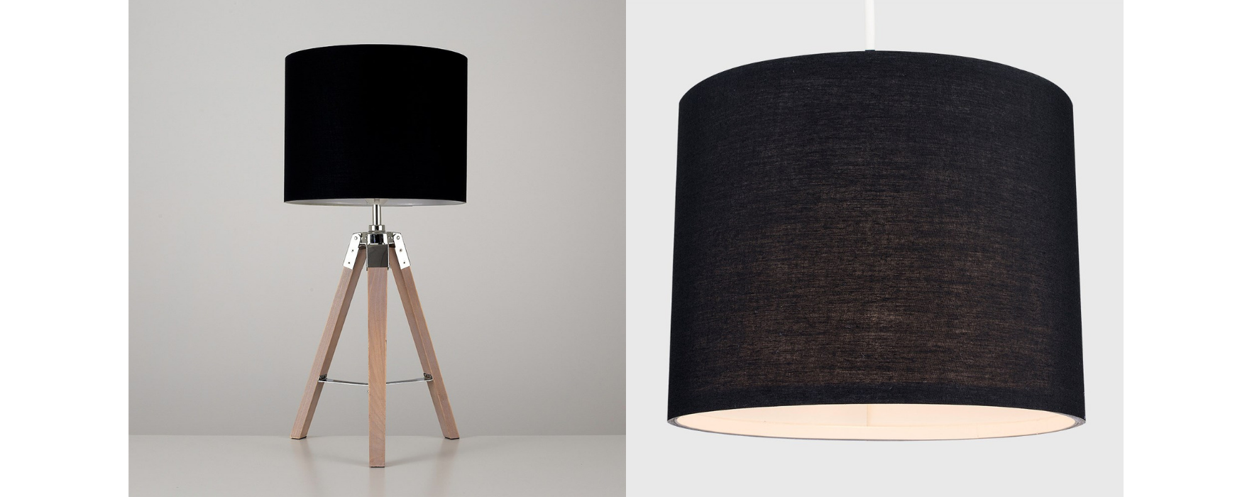 Finished Rolla Shade and Clipper Table Lamp with Black Rolla Shade