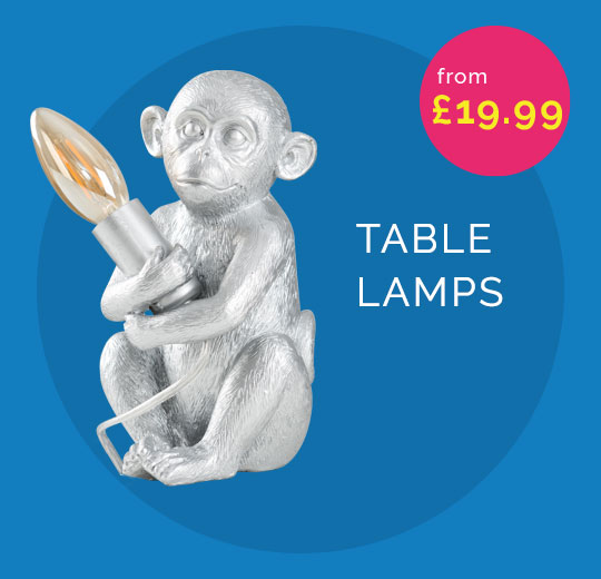 Best range of table lamps, includes an image of a silver monkey lamp