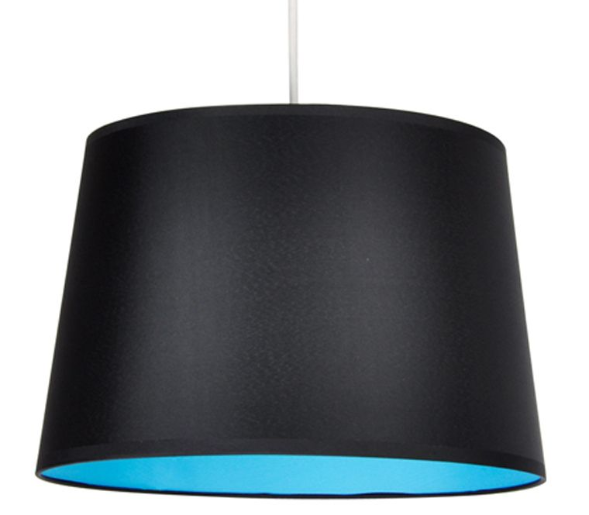 This blue and black pendant shade can create a nice mood in the evening, or in a darker room with low natural light