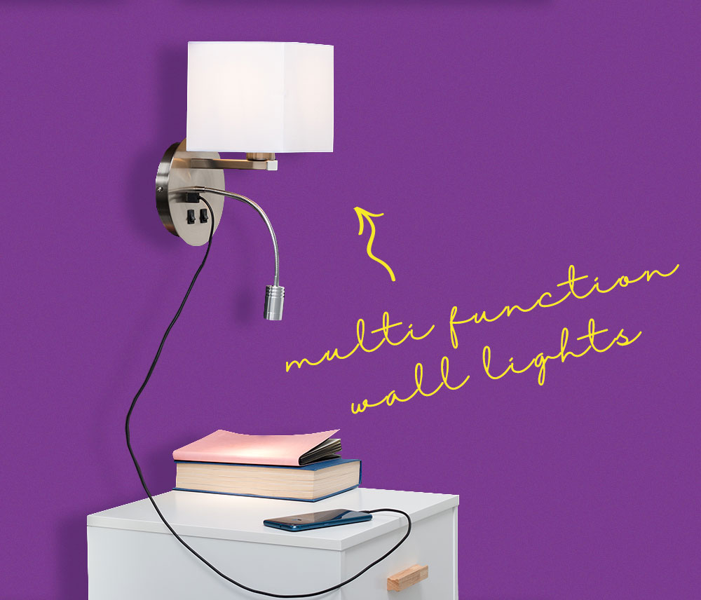 Bedside modern style wall light with a reading light