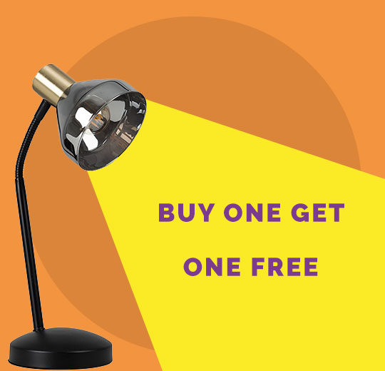 Buy one lamp or light and get one free. Includes an image of a modern desk lamp